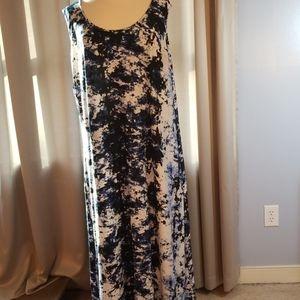 Avenue Blue, White & Black Maxi Dress 22/24